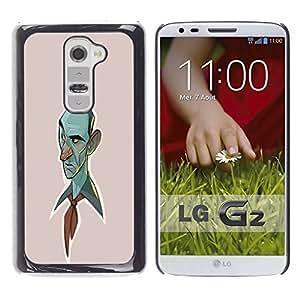 "For LG G2 Case , Blue Man Dibujo Pintura Retrato Arte"" - Diseño Patrón Teléfono Caso Cubierta Case Bumper Duro Protección Case Cover Funda"