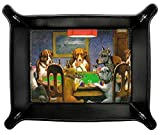 Dogs Playing Poker by C.M.Coolidge Genuine Leather Valet Tray
