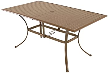 Panama Jack Outdoor Island Breeze Slatted Aluminum Rectangular Dining Table  With Umbrella Hole, 36