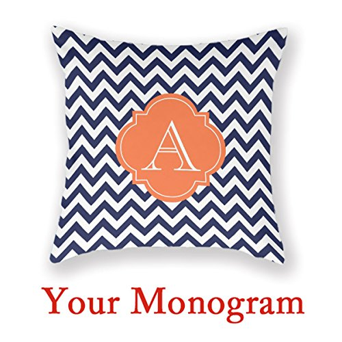 Antoniaday Custom Monogram Pillow Navy White Decor Throw Pillows Orange Pillow Photo Chevron Home Pillow Cover Design Your Own Cushion Amazon Co Uk Kitchen Home