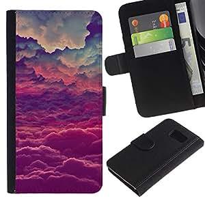 iKiki Tech / Cartera Funda Carcasa - God Purple Inspirational Clouds - Samsung Galaxy S6 SM-G920