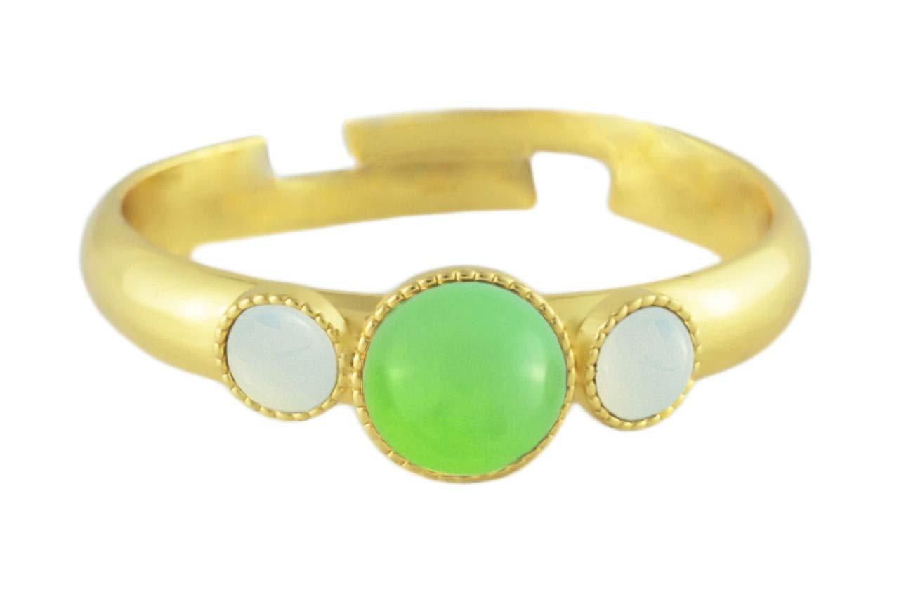 24K Gold Plated Minimalist Ring Adjustable Universal Size Round Trio oOo White Opal Moonstone Czech Glass Stone Green Aqua Handmade BohemSty