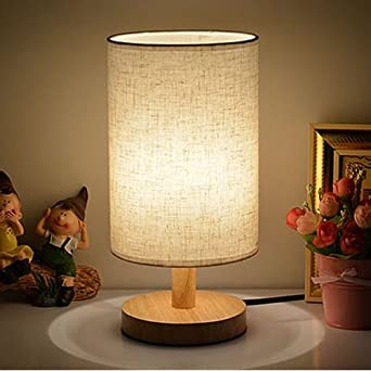 Wonderful Table Lamps With LED Bulb INVESCH Bedside Minimalist Solid Wood Table Lamp  For Bedroom Living Room