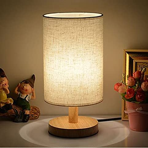 Table Lamps with LED Bulb INVESCH Bedside Minimalist Solid Wood ...
