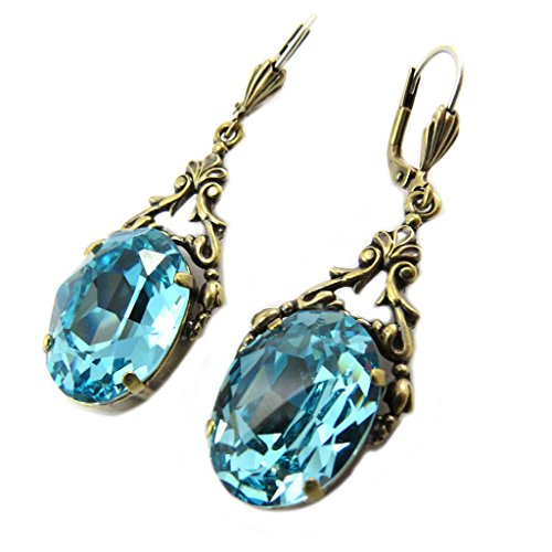 [Earrings 'Tsarine' light golden turquoise - 30x15 mm (1.18''x0.59'').] (Russian Princess Costumes)
