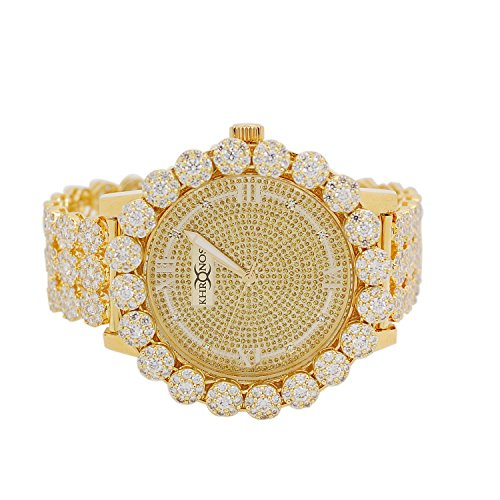 Mens Gold-Tone Genuine Diamond Flower Big Cluster Bezel Watch with Full Jojino Iced out Metal Band by iRockBling