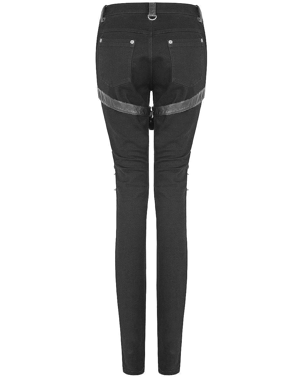 39ba4fd5f4 Punk Rave Womens Dieselpunk Biker Jeans Pants Black Goth Punk Faux Leather  Spike: Amazon.co.uk: Clothing