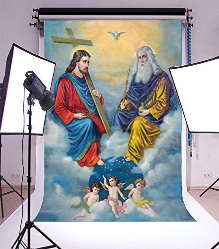 Laeacco 3x5ft Vinyl Photography Backdrop Typical Catholic Holy Trinity Background Jesus Angels Cross Dove Holy Lights White Cloud Religion Belief Photo Background Church Father Art Portraits (Free Pictures Catholic)