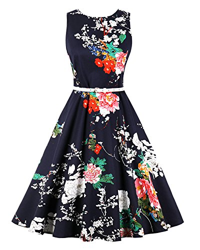1 Garden Vintage (ZAFUL Women's 50s Vintage Floral Sleeveless Dress Spring Garden Swing Party Picnic A Line Cocktail Dress (S, Navy with Belt))