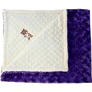 Lil' Cub Hub Minky Blanket with Lil' Cub Characters (Yellow Dot/Purple Rosebud)