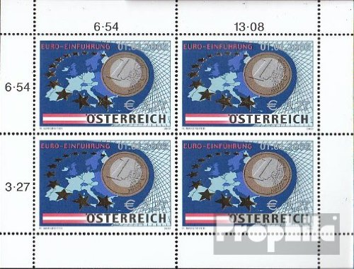 Austria 2368 Sheetlet (complete.issue.) 2002 euro coins (Stamps for - Coin Euro Complete