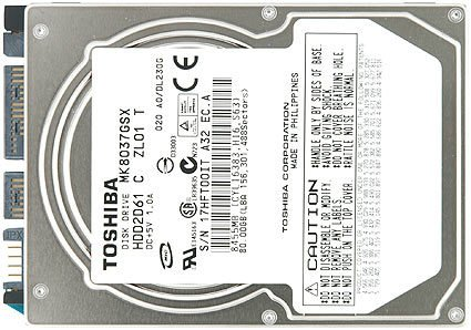 Internal 5400rpm Hard 80gb Drive - Toshiba MK8037GSX 80GB SATA/300 5400RPM 8MB 2.5-Inch NB Hard Drive