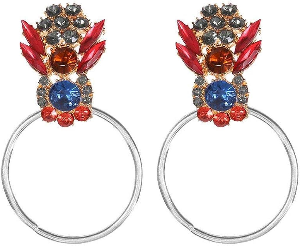 Longra Collar elegante! Mujeres elegantes bohemio metal diamante choker señoras geométricas pendientes redondos