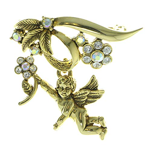 Mi Amore Metal Cherub Brooch-Pin with Crystal Accents Gold-Tone ()