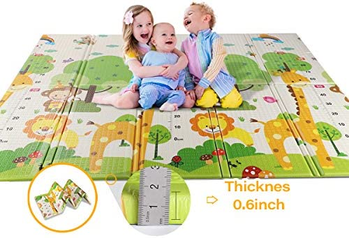 WV WONDER VIEW Baby Playmat Crawling Mat Folding Mat, Doble Side Portable Colorful and Waterproof Playmat for Kids Baby and Toddler, Thick Extra Large Playmat