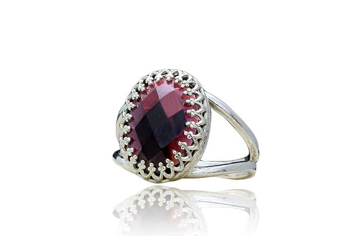 cb262f39d8c01 Amazon.com: Anemone Jewelry Eye-Catching Garnet Rings for Women ...