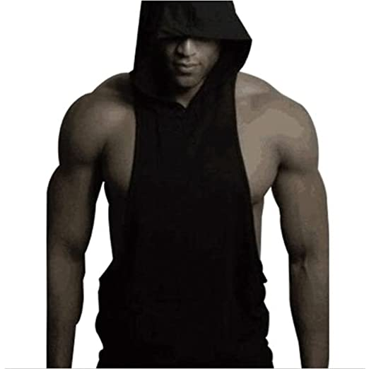 0b4fc93ab2fcd4 qingdg Fitness Men Bodybuilding Cotton Sleeveless Top Solid Stringer Hoodie  Tank Top Summer Hooded Shirts Cotton