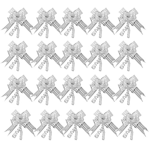 Baoblaze 20pcs Gift Wrap Pull Bows Ribbon String Present Wedding Gift Boxes Wrapping DIY - Silver