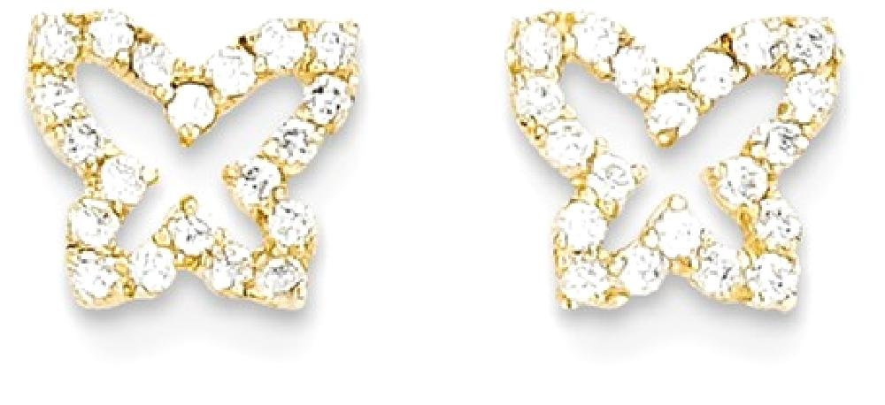ICE CARATS 14k Yellow Gold Cubic Zirconia Cz Butterfly Post Stud Earrings Animal Fine Jewelry Gift Set For Women Heart