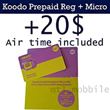 Koodo Mobile Prepaid Regular + Micro Combo sim card with 20$ air time (voucher) included