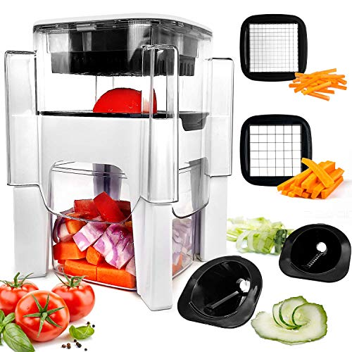 Vegetable Chopper, Fun Life 4 in-1 Food Chopper Cutter Slicer Dicer, Manual...
