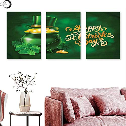 (J Chief Sky St. Patricks Day Wall hangings Irish Pot of Gold Triptych Art W 16