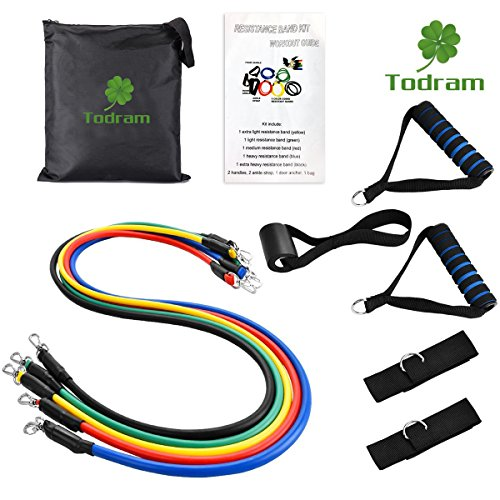 Todram 11pc Resistance Band Set - 5 Stackable Exercise Loop Bands Training Tube Set For Fitness Resistance Weights Exercise Gyms Workout Yoga with Door Anchor, Handles,Legs Ankle Straps, Carrying Case