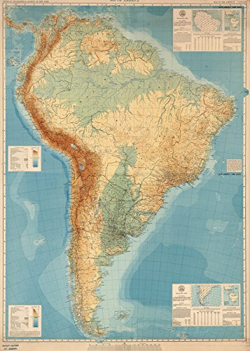 Historic Map | Wall Map, South America - Physical-Political. 1942, | Vintage Wall Art | 24in x 34in