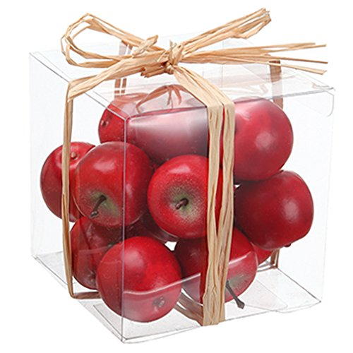 4''Hx4''W Artificial Boxed Assorted Apple -Red (pack of 12) by SilksAreForever