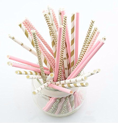 125pcs(5bags)pink Gold Striped Mixed Kids Birthday Wedding Decorative Party Decoration Event Supplies Drinking Paper Straws