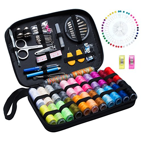 Sewing Kit BoChang – Over 130 DIY Premium Sewing Supplies, Zipper Portable & Complete Mini Sew Kit for Traveller, Adults, Beginner, Emergency – Filled with Mending Supplies and Sewing Accessories