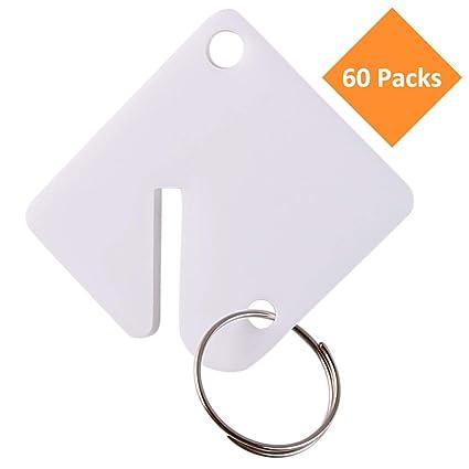 White Key Tag >> 60 Packs Blank Plastic Key Tags Upgrade Round Split Ring Durable Key Identify Tags Bulk Key Tags For Key Cabinet 1 5 Inches Square Shaped