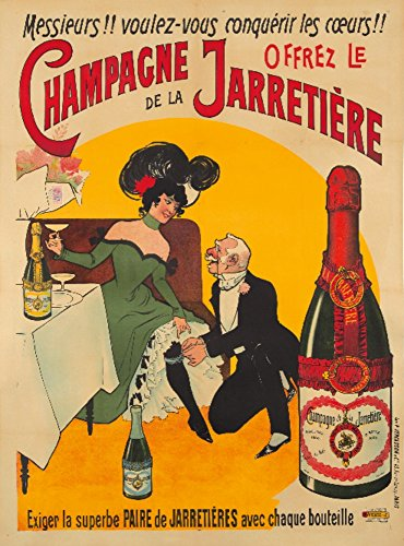 Champagne Jarretiere Vintage Poster (artist: Anonymous) France c. 1900 (9x12 Art Print, Wall Decor Travel Poster)