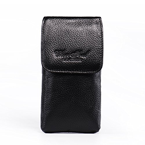 Hengwin Holster Pouch, Premium Leather Carrying Case Belt Clip Holster Smartphone iPhone 8 Plus 7 Plus Holster Pouch Cellphone Sleeve Zipper Pocket for Galaxy S8 Plus LG G5/G6 V30 +Keyring-Black