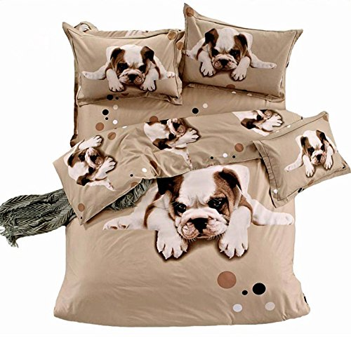 MeMoreCool Home Textile 3D Effect Kids Students Environmental Reactive Printing 100% Cotton 3 Piece Bedding Set Cute Dogs Design Boys and Girls Duvet Covers Soft Flounce Bed Sheets Twin Size