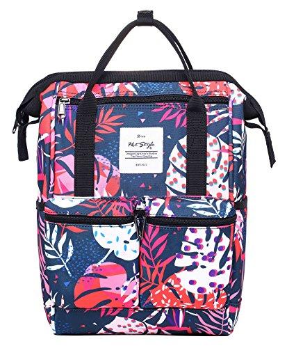 HotStyle DISA Fashion Blumen Damen Laptop Rucksack 14 zoll (44x27x17cm) - Makrone & Streifen D193F, Tropische Blätter