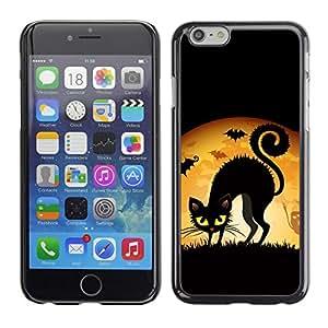 TopCaseStore / la caja del caucho duro de la cubierta de protección de la piel - Witch Black Cat Full Moon - Apple iPhone 6