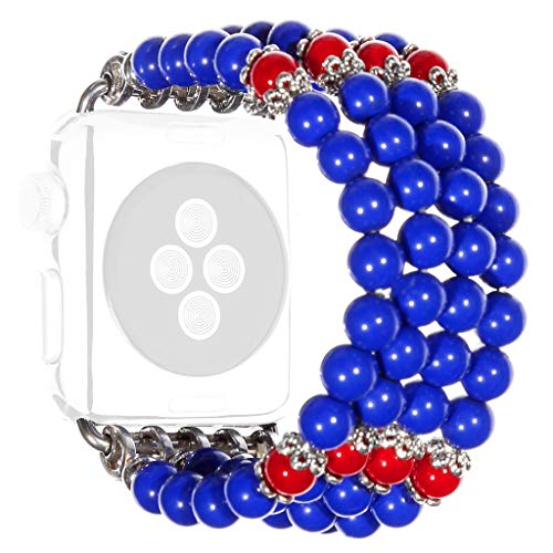 Orcbee  _Fashion Sports Beaded Bracelet Strap Band for Apple Watch Series 4/3/2/1 42/44mm (B) (Beaded Elite Panel)