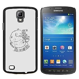 KLONGSHOP // Cubierta de piel con cierre a presión Shell trasero duro de goma Protección Caso - Manatee sirena divertido - Samsung Galaxy S4 Active i9295 //
