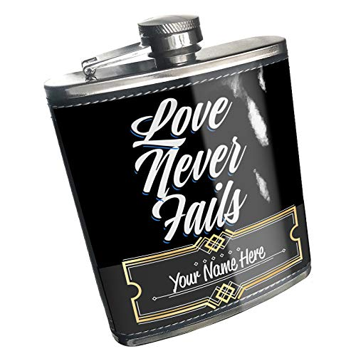 (Neonblond Flask Classic design Love Never Fails Custom Name Stainless Steel)