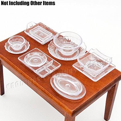 Odoria 1:12 Miniature 12PCS Clear Tableware Set Cookware Kit Plate Dish Bowl Dollhouse Kitchen Accessories