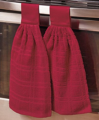 Set of 2 Hanging Kitchen Towels (Red) by The Lakeside Collection (Image #1)