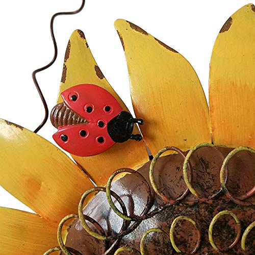 Decorative Sunflower Birdhouse for Outside Hanging Bird House Metal with Ladybug Autumn Fall Outdoor Garden Decor