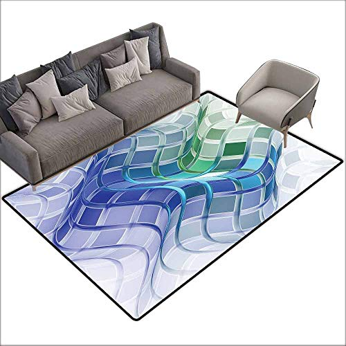 Door Rug Area Rug Trippy Abstract Set of Squares with Wavy Form Psychedelic Fractals Mental Absorbing Image Anti-Fading W6'7 x L9'10 Multicolor