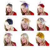 Feather Fascinator Cocktail Hat Linen Net Mesh Formal Headwear Hair Clip