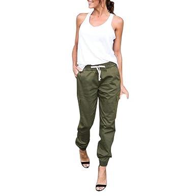 Pantalon De Sport Femme Fashion Large Taille Élastique Cordon De Serrage  Pantalon Sport Mode Chic Confortable 23407b27d699