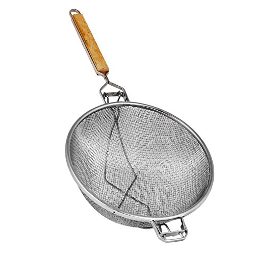 Excellante Reinforced Double Mesh Strainer with Fine Flat Handle Wooden Handle, Double, Fine, 10.5