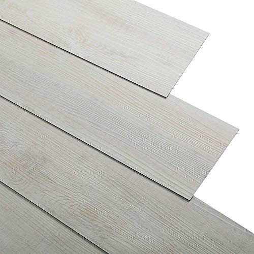 16 PCS 24 Square Feet, CO-Z Odorless Vinyl Floor Planks Adhesive Floor Tiles 2.0mm Thick, Environmental-Friendly (Beige)