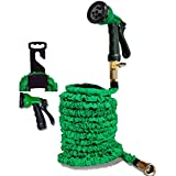 Komnn- Expandable Flexible Garden Hose Expanding Compact Lightweight Garden Hose with PREMIUM Brass Connectors, 8 Pattern Spray Nozzle and Hanger - 50 Feet