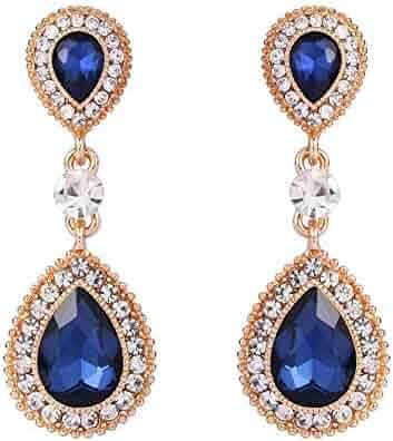66f277f55 BriLove Women's Wedding Bridal Crystal Teardrop Infinity Figure 8 Dangle  Earrings